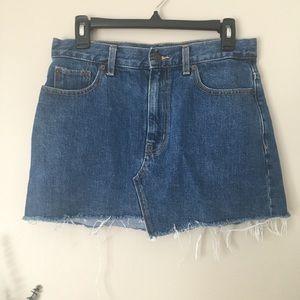 Golden by TNA Denim Frayed Mini Skirt